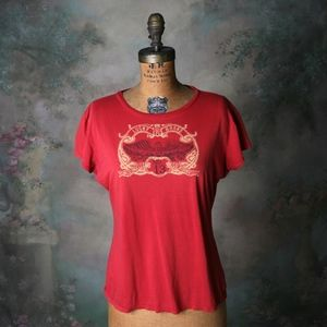 Lucky Brand Vintage T-Shirt Crown & Wings Red